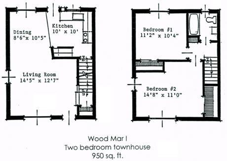 two bedroom townhome style apartments